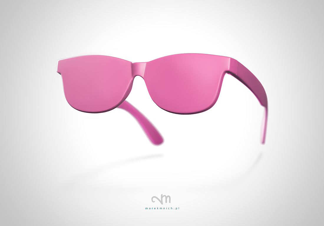 Pink eyeglasses concept on white background