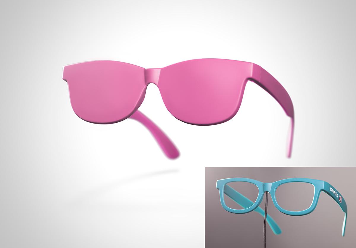 Pink eyeglasses concept on white background