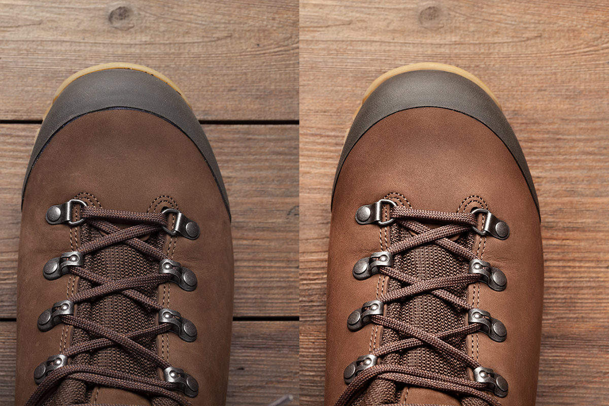 Close up of brown leather hiking boots