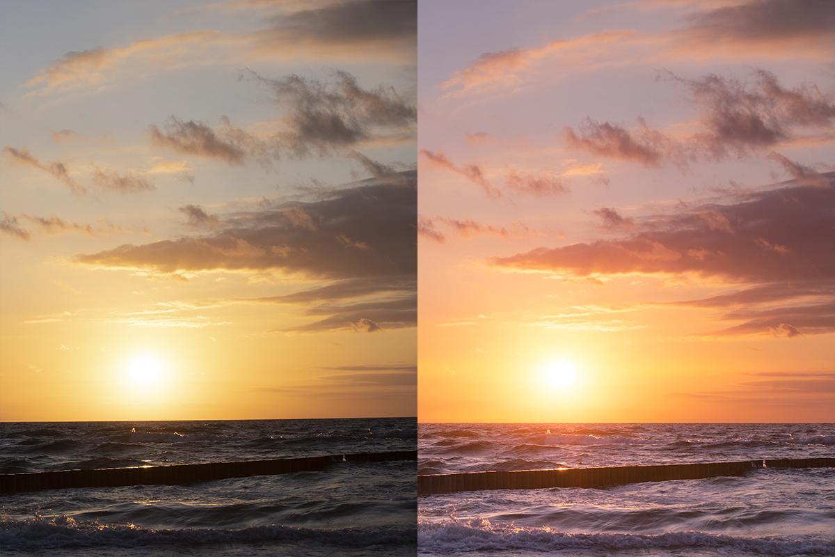Baltic sea and sunset sky